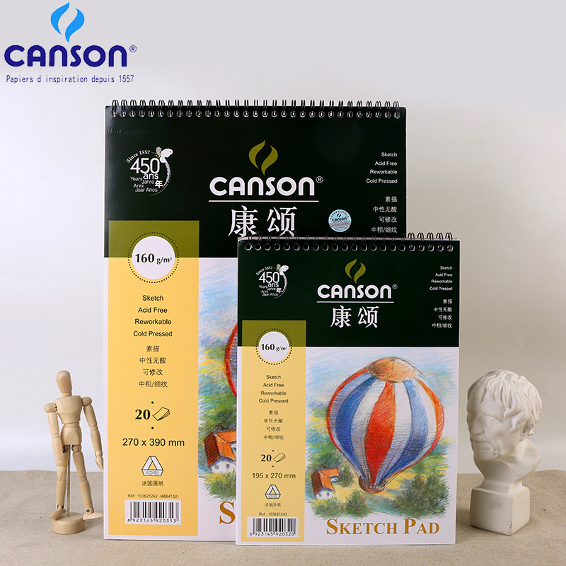France Canson Sketch Painting Book Paper 8K/16K Sketch Book 20Sheets Coil Notebook Drawing Artist Painting Sketch Art SuppliesFrance Canson Sketch Painting Book Paper 8K/16K Sketch Book 20Sheets Coil Notebook Drawing Artist Painting Sketch Art Supplies