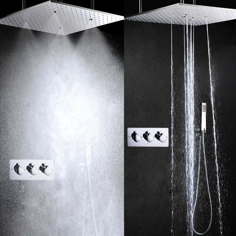 Rain Shower Set Hot And Cold Bath & Shower System 20 Inch Bathroom Shower Head Bathroom Shower Faucet Mixer Panel atomizing and rainfall water function bathroom products 20 inch bath shower head thermostat bath bathroom shower faucet set