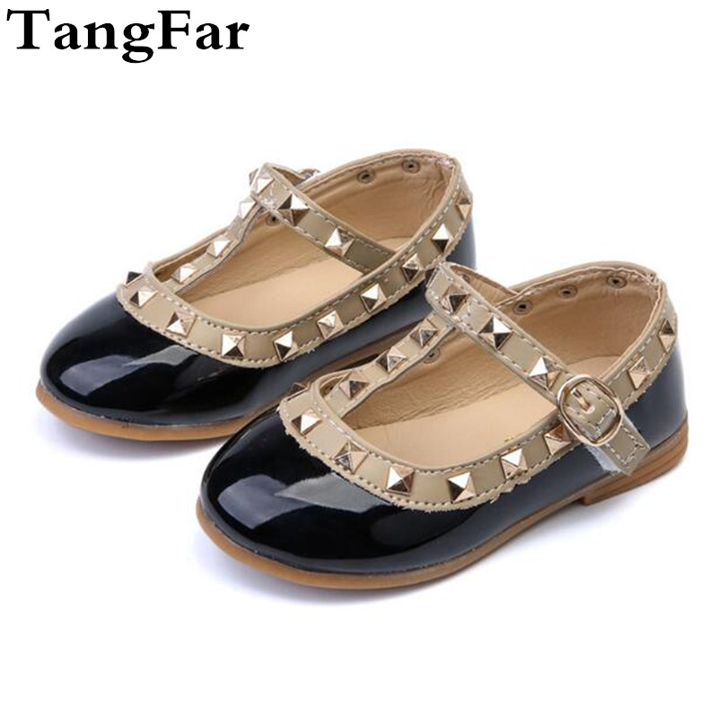 Baby Kids Patent Leather Mary Jane Shoes Spring Autumn Rivet Girls Dress Shoes Soft Slip-resistant Toddler Children Flats