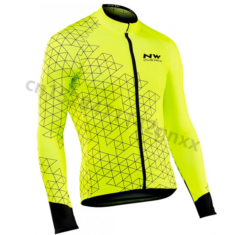 NW Spring Triathlon Men's Cycling Jersey 2019 Pro Long Sleeve Ropa Ciclismo MTB Bicycle Clothing Quick Dry Fluorescence Clothes