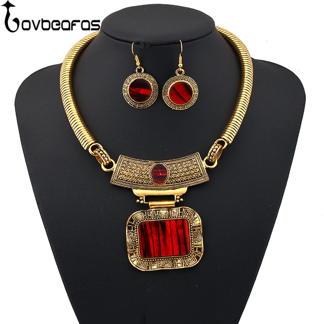 LOVBEAFAS 2018 Fashion Choker Necklace Earrings Jewelry Sets Collares Maxi Vintage  Statement Necklaces   Pendants Women Jewelry 18a946aa20a1