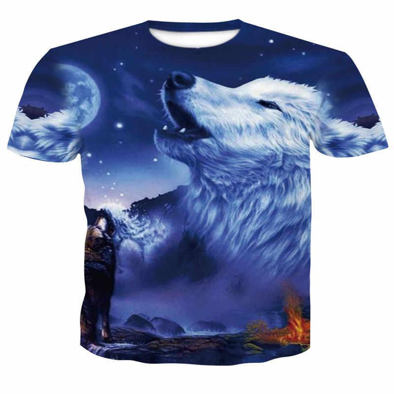 2018 más nuevo Harajuku Wolf 3D impresión Cool camiseta hombres manga corta  verano Tops Camisetas hombres a66c60c4851