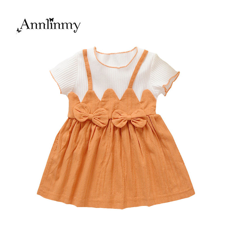 2018 new summer girls dress fashion faux 2pcs baby girl dresses bow newborn clothing suit 0~2age toddler girls tutu dress infant