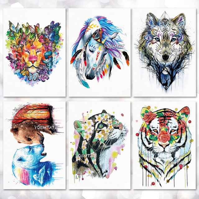 ae3c55449 Watercolor Animal Pattern Temporary Tattoo Stickers Waterproof Women Fake  Hand Tattoos Adult Men Body Art