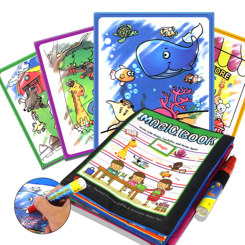 Children Cartoon Animals Water Drawing Book & Magic Pen Water Coloring Reusable Doodle Mat Early Intelligence Development Toys