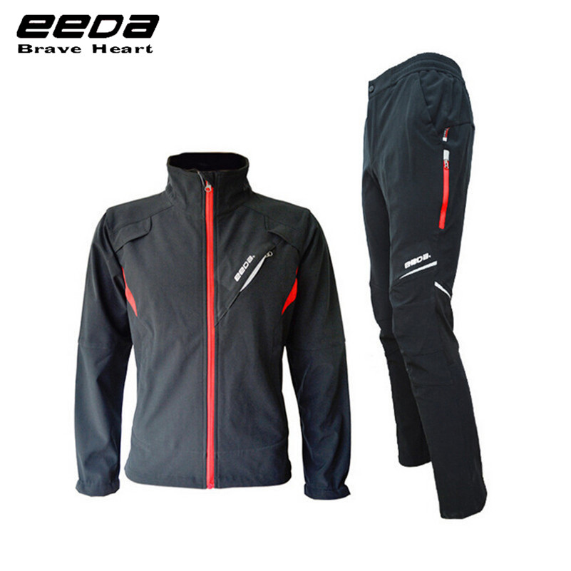 EEDA Autumn Winter Warm Windproof Fleece Jersey Men Long-Sleeved Cycling Clothing Suit Bicycle Bike Fleece Windcoat Set men fleece thermal autumn winter windproof cycling jacket bike bicycle casual coat clothing warm long sleeve cycling jersey set