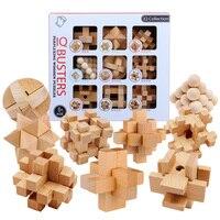 9 шт./компл. бук 3D ручной работы винтажный замок Ming Luban замок деревянные игрушки взрослые образовательные головоломки для детей игрушка для в...