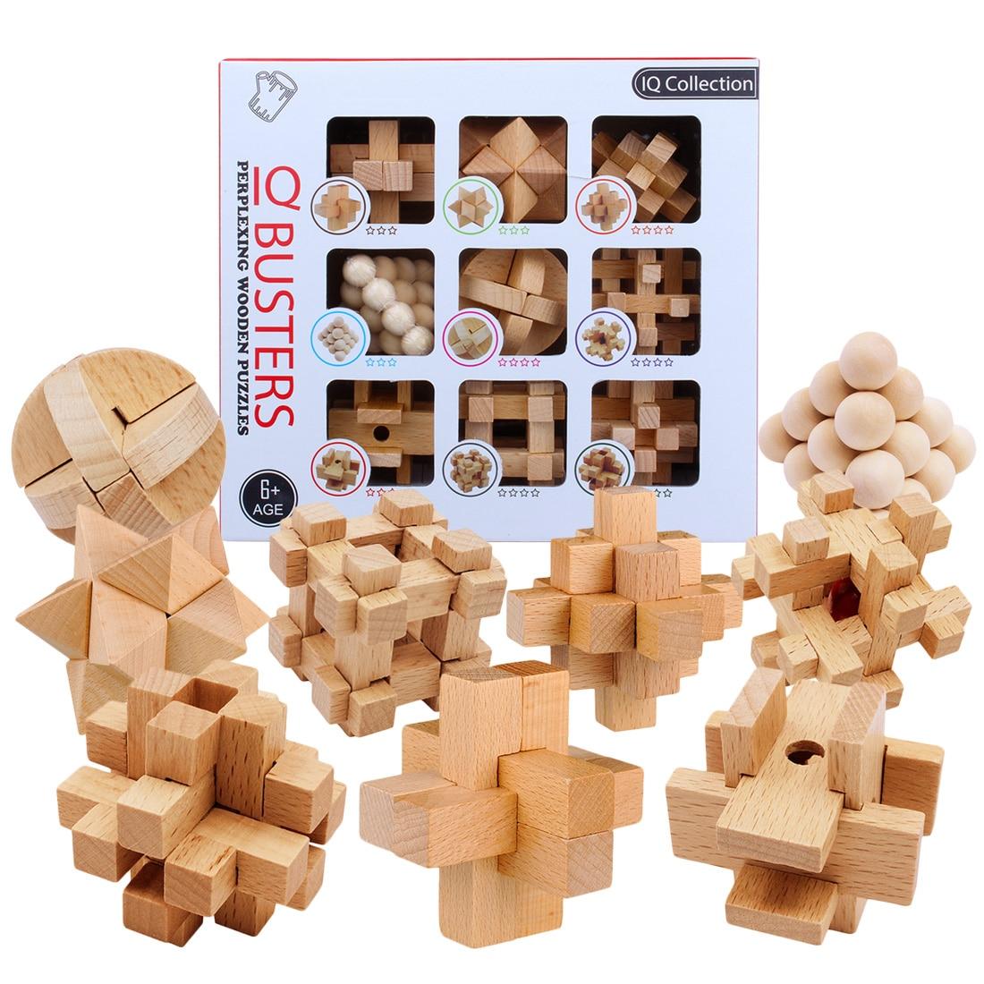 9 pièces/ensemble hêtre 3D fait à la main vintage Ming lock Luban lock jouets en bois adultes puzzle enfants jouet éducatif adulte cadeau de noël