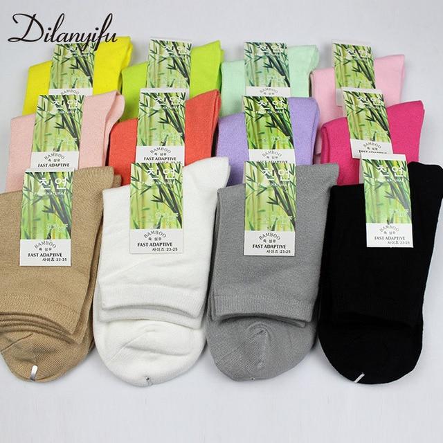 Dilanyifu 10 парт/лот осенние женские хлопковые носки забавные носки высококачественные однотонные бамбуковые повседневные короткие носки разные Женские Размеры 35 41