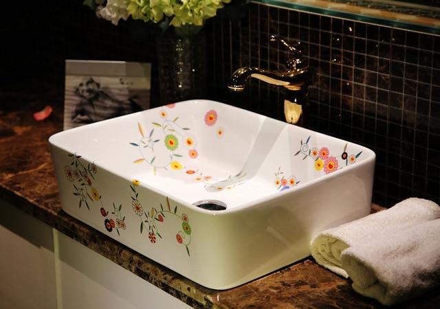 Modern Korean Cute Artistic Ceramic Bathroom Vanity Table Bench - Bathroom vanities under usd 200