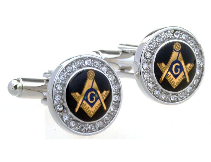 10pairs lot Crystal Freemason Cufflinks Gold Silver Masonic Cuff Links Free Mason Jewelry Cuff Button Men
