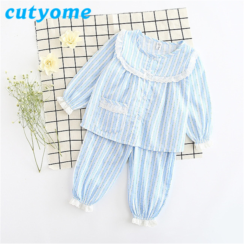 5Sets/lot Baby Girls Pijamas Sets Cutyome Pure Cotton Striped Lace Sleeve Pajamas Set For Children Kids Sleepwear Homewear Robes
