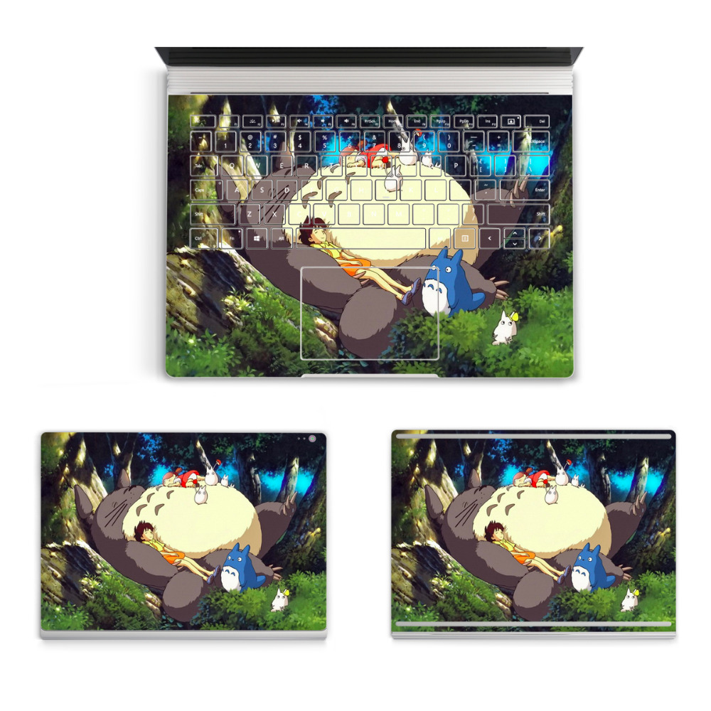 2017 Hot Laptop Cartoon Sticker For Micro Surface Book Top Bottom Vinyl Decal+Keyboard Sticker Ironman Totoro Skin Logo Cut Out colorful laptop sticker decal skins for macbook 11 13 15 17 inch sticker for mac book rainbow logo free shipping new arrival