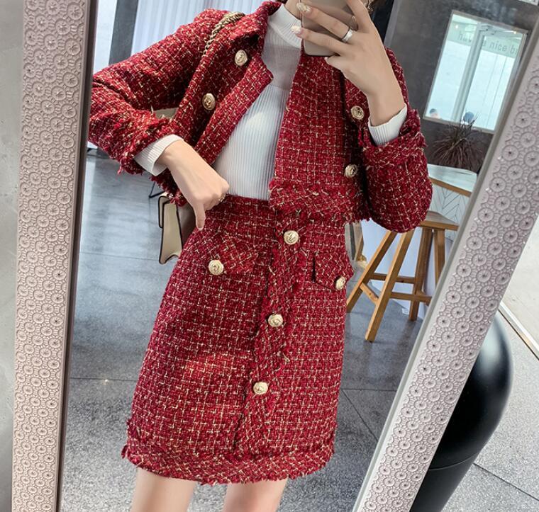 Skirt Suits Women Runway Designer Elegant Office Lady Formal Tweed Red Blazer Jacket Mini Skirt 2 Piece Sets 2019 Autumn Winter