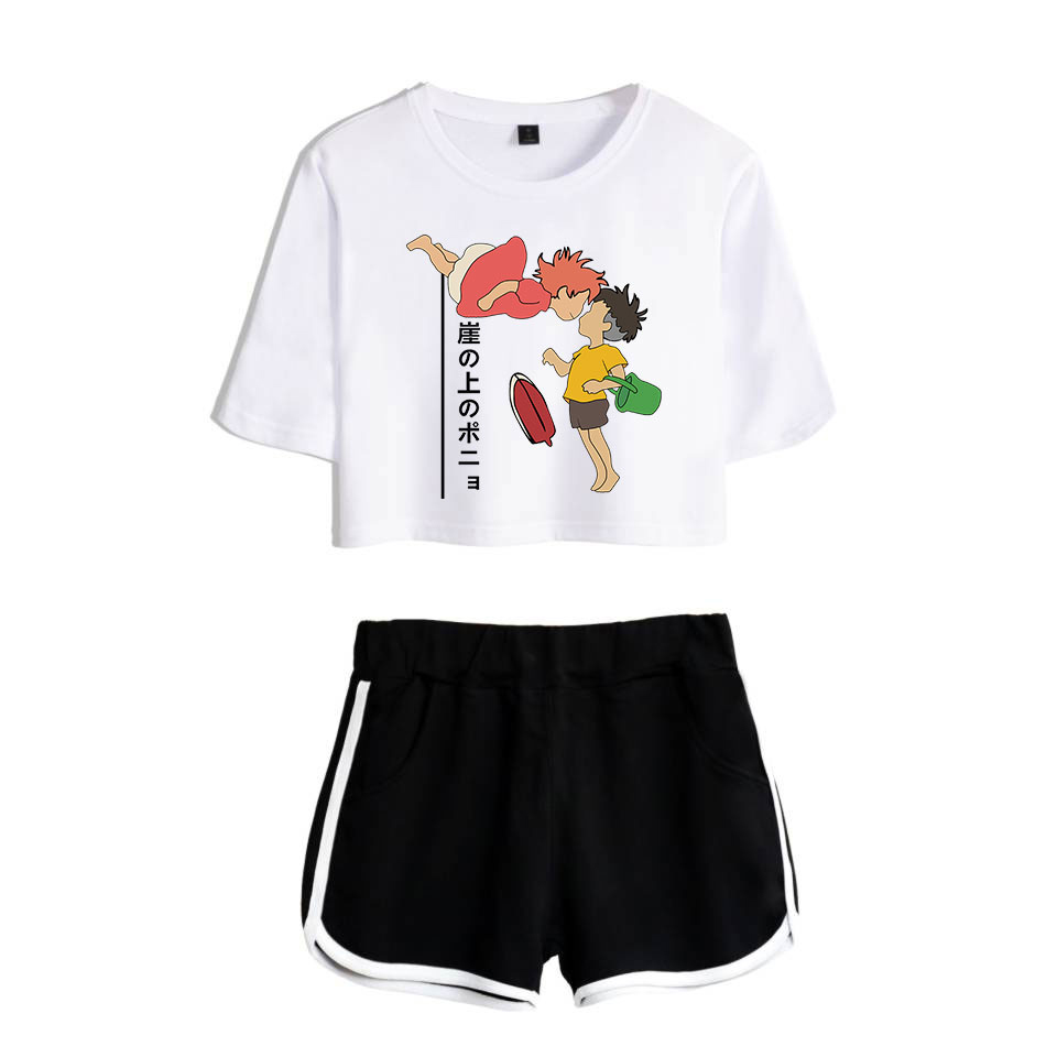 Hot Ponyo On The Cliff Two-Piece Fashion New Summer Casual Print Exposed Navel White T-Shirt+black Short Women's Suit Clothing