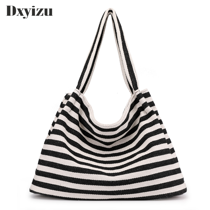 Casual Shopping Bag Top Handle Large Capacity Tote Canvas Women Handbags Stripes Pattern Ladies School Shoulder Beach Bags