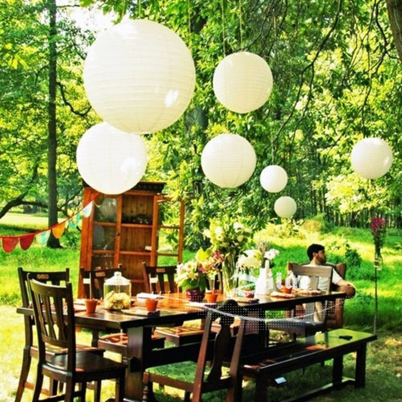 Ivory Paper Lanterns 10pcs Lot 12 Round Lamps Home Garden Patio Party Decoration Lamp For Outdoor Lawn Wedding In From