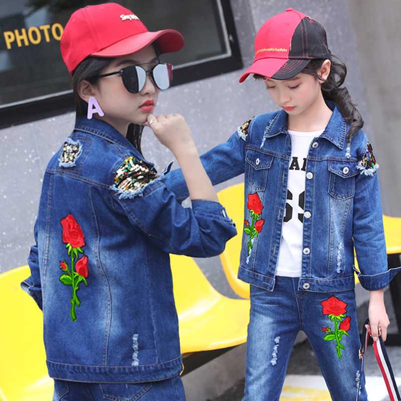 2019 Kids Clothing Set Girls Denim Floral Girls Clothing Sets Autumn Long Sleeve Pants Girls Casual Children Clothes Suit Sport