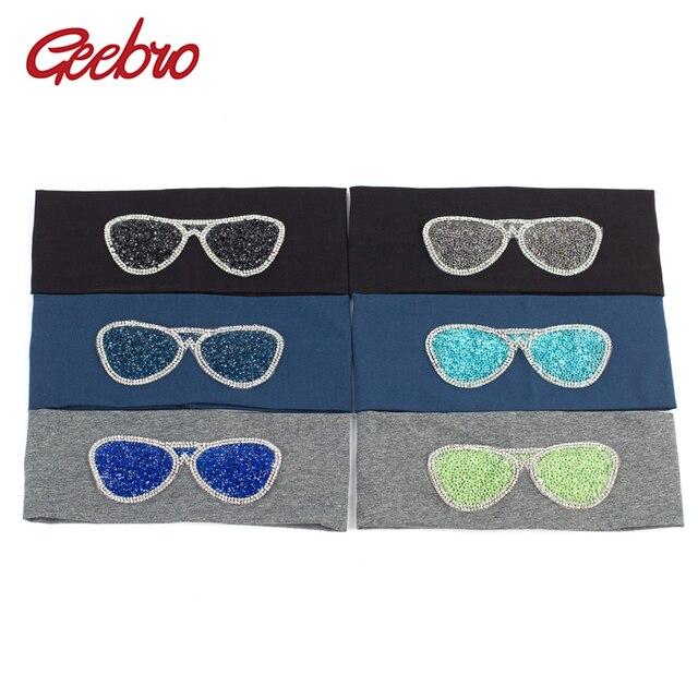 Geebro Women's Plain Stretch Headbands Fashion Cotton Sunglasses Elastic Flat Headband For Girls Shine Rhinestones Hair Band