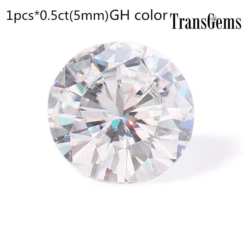 TransGems 1 Pièce 5mm Moissanite Équivalent Diamant 0.5ct Carat GH Couleur Moissanite Lâche La Pierre Bat pour Fabrication de Bijoux