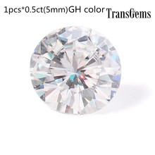 TransGems 1 Piece 5mm Moissanite Equivalent Diamond 0.5ct Carat GH Color Loose Stone Beats for Jewelry Making