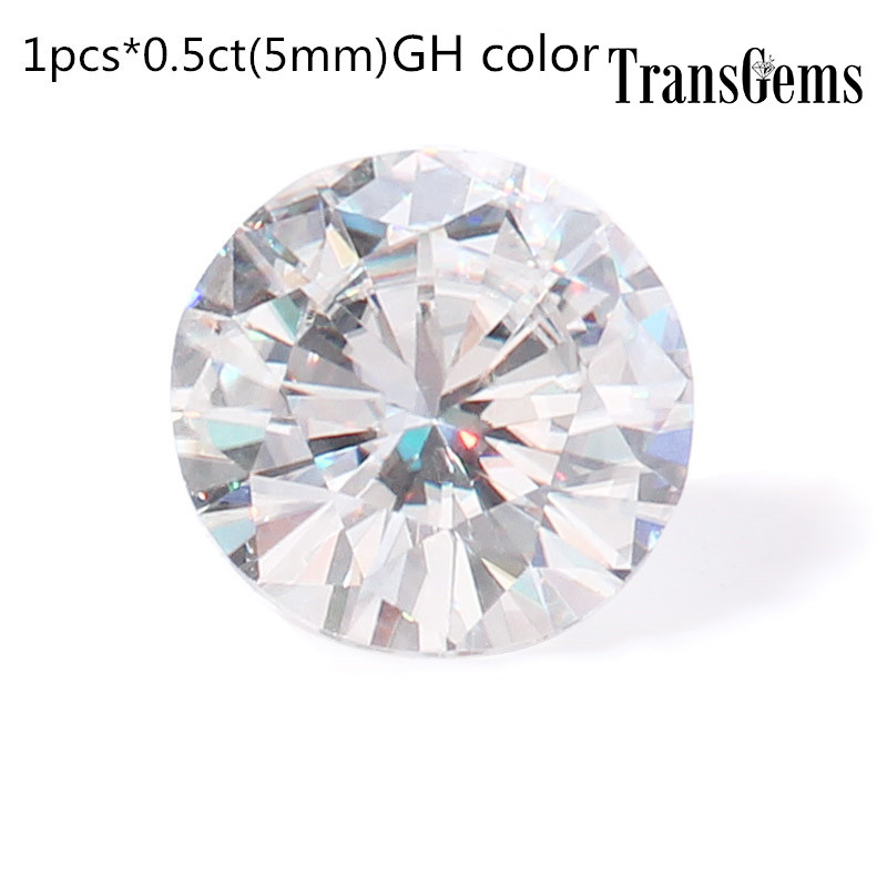 TransGems 5mm Moissanite Equivalent Diamond 0.5ct Carat GH Color Test Positive Moissanite Loose Stone Beats for Jewelry Making transgems 7 5mm 7 5mm 2carat deep blue color cushion cut moissanite bead test positive as real diamond 1 piece