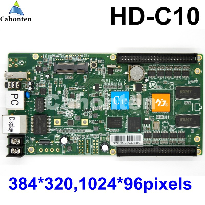 HD-C10 USB + Ethernet Port Asynchronous control Full color display Video LED control card 320*384 pixels U disk controller bx 6q3 usb and ethernet port lintel full color led control card asynchronous video led sign controller 384 1024 512 768pixels