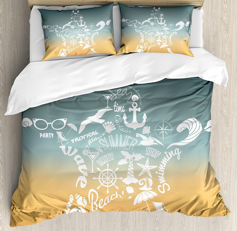Морская звезда декор постельное белье, летнее время путешествия иконы приключений путешествие Ретро Стиль Concept, 4 шт. Постельное белье