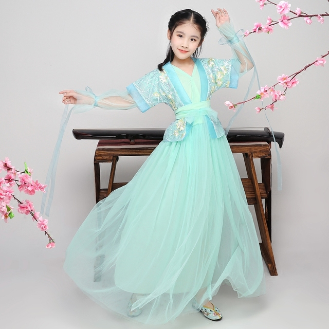 f83f14b21782 Children Ancient Fairy Tang Dynasty Hanfu Dress for Girls Traditional  Chinese Dance Costumes Classical Folk Suit Stage Wear
