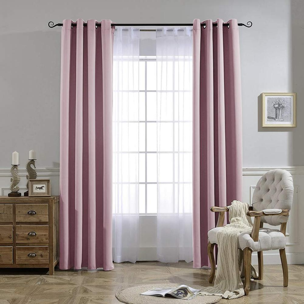 Solid Blackout Curtains For Living Room Bedroom Window Treatment Blinds Finished Drapes Modern Black Out Curtain