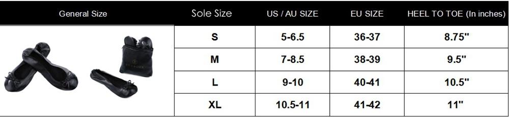 Eko & Lux foldable ballets size chart