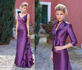 Mother Evening dress with Jacket V-neck Half Sleeve 2016 New Style Free Shipping Purple Mother Of The Bride Dresses Customize