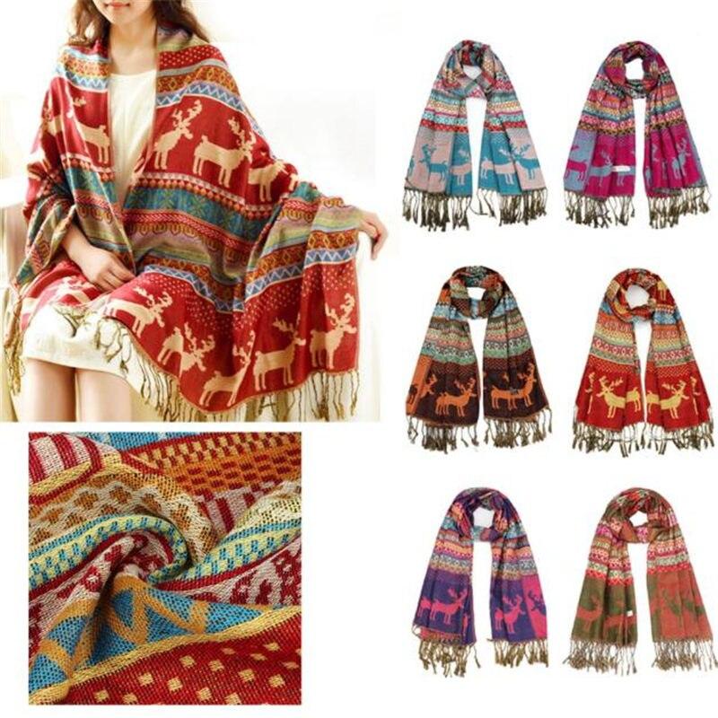 Women Winter Double Sided Deerlet Pattern National Wind   Scarf     Wrap   Shawl women's   scarves   handkerchief hijab   scarf   40FE27
