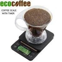 Ecocoffee 미니 드립 디지털 스케일 타이머 3KG 0.1G 전기 주방 스케일 베이킹 테이블 가중치 V60 커피 스케일