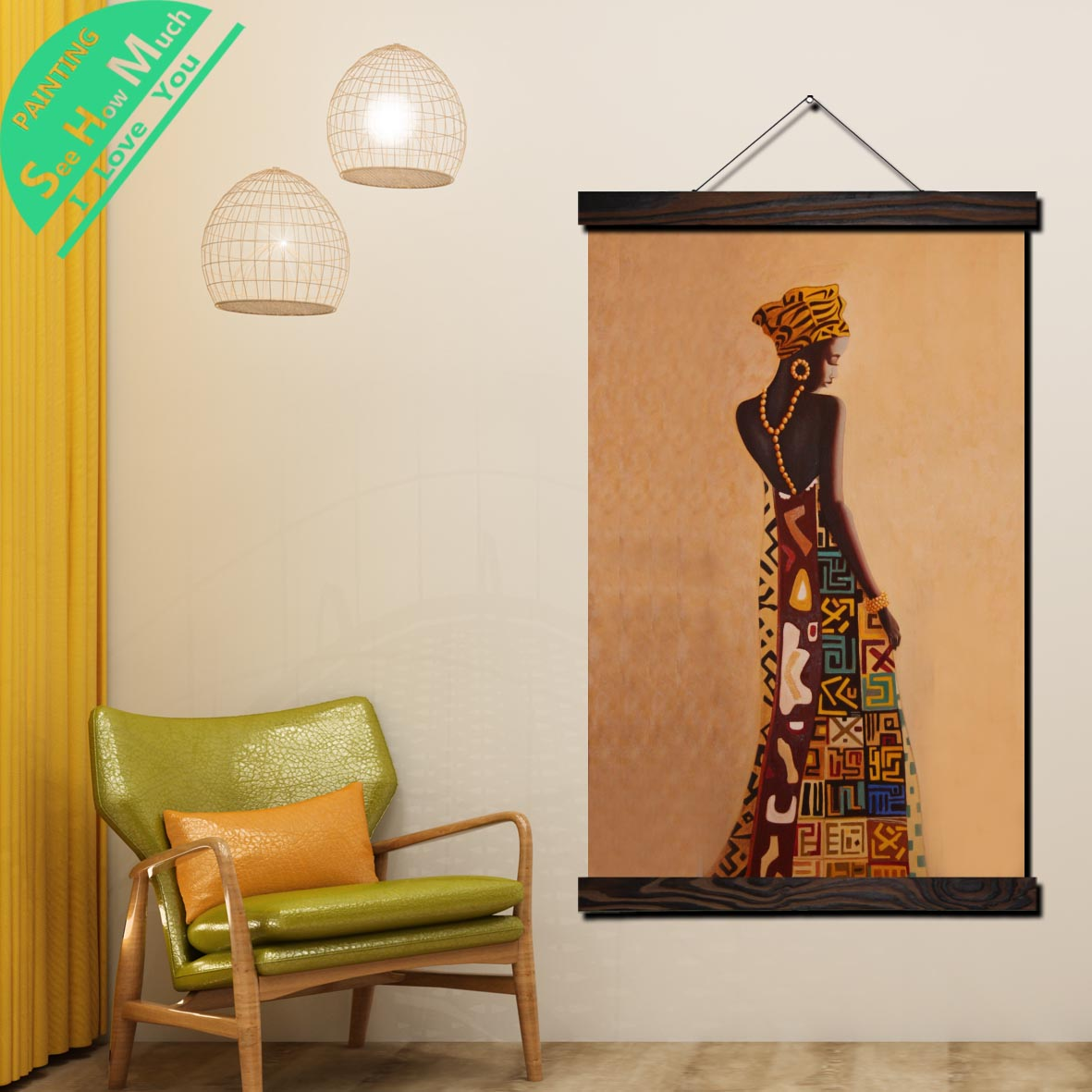 African Woman Art Scroll Painting Canvas Vintage Poster and Print Wall Art Pictures Living Room Bedroom Farmhouse Decoration in Painting Calligraphy from Home Garden