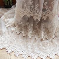 120 cm breed Beige mesh Dubbele katoen geborduurde lace trim stof voor jurk DIY-LSXG