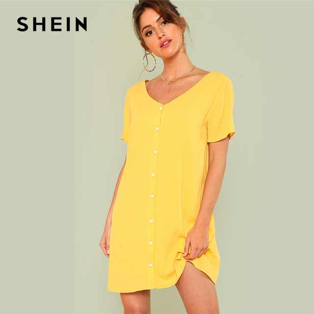 9e53d8b972 SHEIN Double V Neckline Shirt Dress 2018 Summer V Neck Short Sleeve Button Dress  Women Yellow
