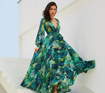 4fd10b11d962a78 2019 Для женщин с длинным рукавом платье в богемном стиле, с цветами печати шифон  пляжное платье Зеленый тропический пляж Винтажные наряды .
