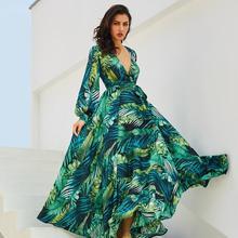 a2a39d684 2019 Women Long Sleeve Dress Boho Style Floral Print Chiffon Beach Dress  Green Tropical Beach Vintage