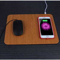 5W Wireless Charging USB PU+Wooden Mouse/Mice Pad For PC Laptop 30x22CM