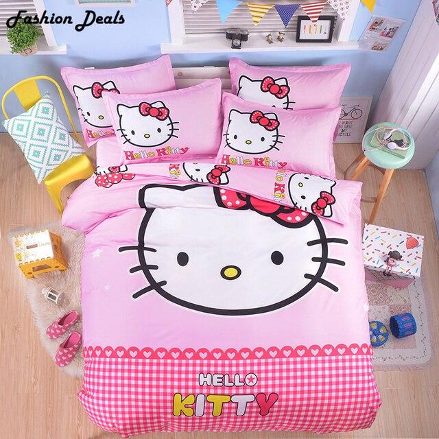 0e4479ff2992 Home Textile 3D Cartoon Bedding Sets Hello Kitty Mickey Mouse Doraemon  Cotton Bed Linen 3 4pcs Duvet Cover Bed Sheet Pillowcases