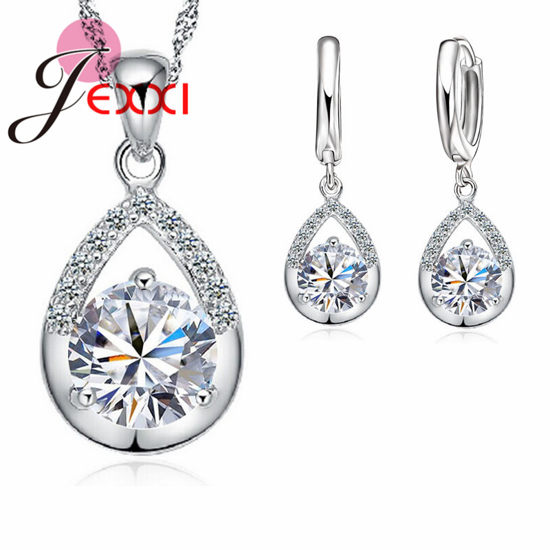 JEXXI Elegan Fashion Jewelry Set Anting Murni 925 Sterling Silver Emas Putih Kualitas Top Kalung Set Wanita Wedding Dress SET
