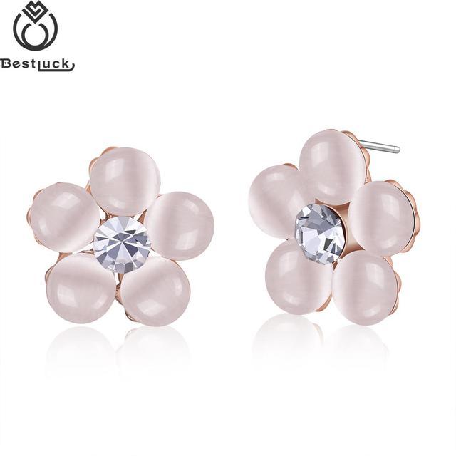 2017 Hot Beautiful Luxury Rose Gold Colour Flowers Nickel Free Stud Earrings For Women Giftfriend