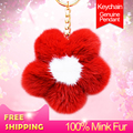 Fashion imported mink fur pom pom key ring Sun flower Women's bag pendant car keychain girls lovely creative gifts