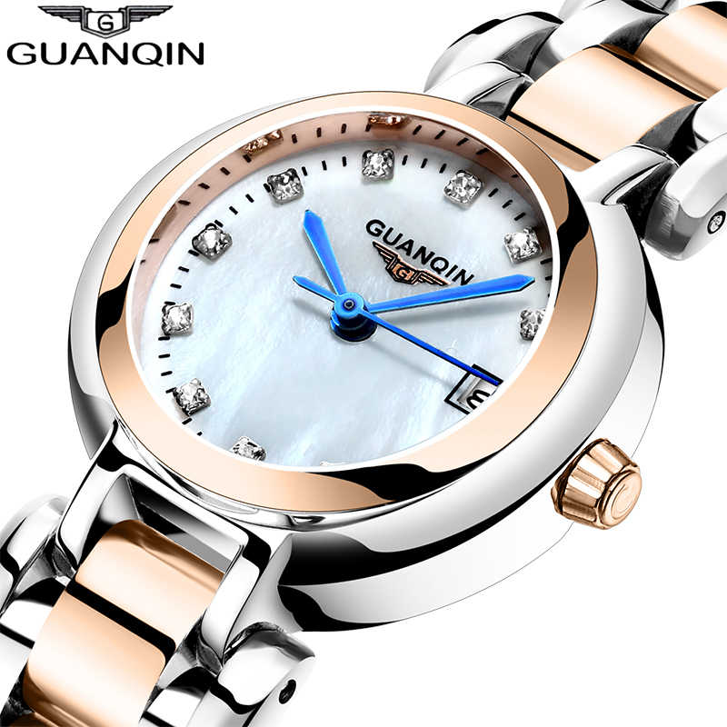 GUANQIN 2019 Women watch luxury Pearl dial waterproof dress watch Montre Femme girl ladies fashion quartz watch Relogio Feminino