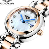 GUANQIN luxus Frauen uhren stahlband Armband Damen kleid uhr wasserdicht mode quarzuhr Top Marke Relogio Feminino