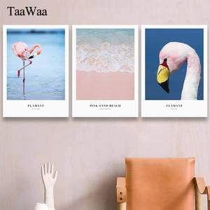 TaaWaa Framed Painting Pink Swan Sea Yacht Wall Art Quotes Posters and Prints Nordic Style Pictures For Room Home Decoration