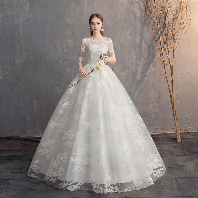Do Dower dentelle demi manches broderie robe De mariée hors épaule robe De bal princesse Simple robes De mariée Vestido De Novia