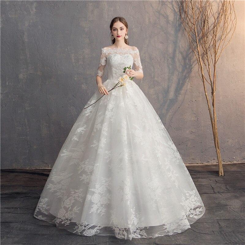 EZKUNTZA dentelle demi manches broderie robe De mariée hors épaule robe De bal princesse Simple robes De mariée Vestido De Novia
