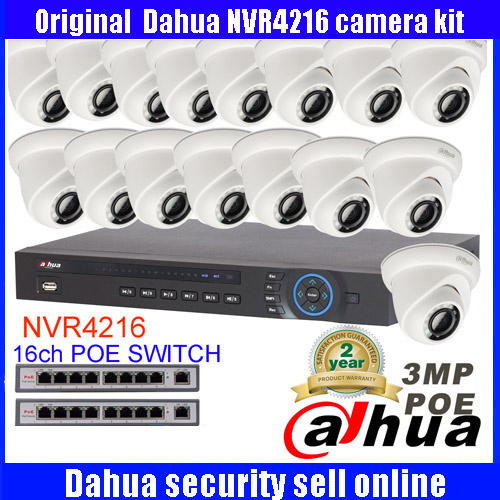 Dahua 16CH IP Camera System Onvif P2P 16 Channel NVR4216 Video Recorder 16Pcs Dome HD 3MP